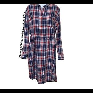 Levi's Button Front Plaid Collared Belted Shirt Dress L